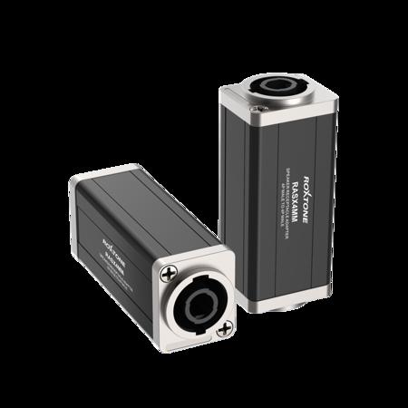 """D"" shape black aluminum-alloy adapter, 4-poles to 4-poles Roxtone RASX4MM"