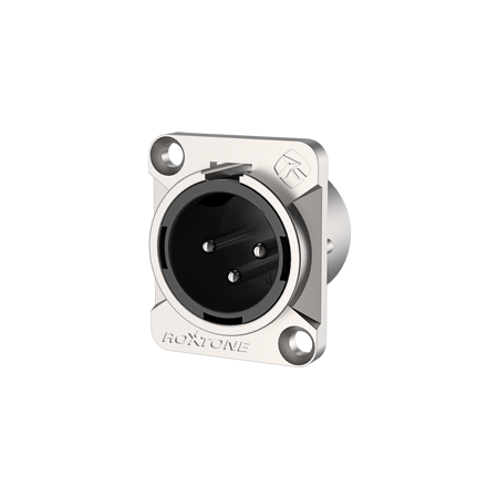 RX3MD-NS 3 pole XLR male socket, Nickel plated shell
